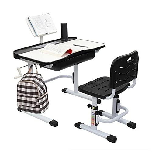 KUAIE Escritorio funcional para niños y sillas ergonómicas con mesa inclinable superior de la estantería con manivela ajustable de altura B con LED gris claro (color: A)