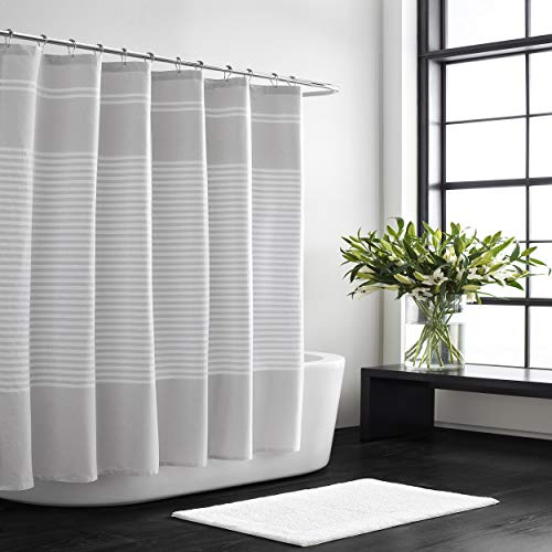 """Vera Wang   Stripe Collection   100% Cotton Lightweight Durable Shower Curtain, Simple and Elegant Style for Bathroom Décor, 70"""" x 72"""", Seersucker"""