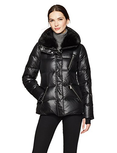 Haven Outerwear Women's Cire Down Faux Fur Collar Jacket, black, Extra Large