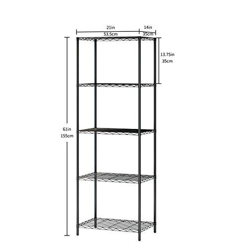 EBS 5-Shelf Metal Shelving Unit with Adjustable Leveling, Storage Rack with Wheels for Kitchen Garage Bedroom Bathroom Storage