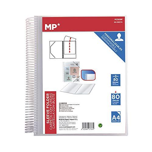 MP - Carpeta Clasificadora con Anillas, 80 Fundas A4 con Portada Personalizable