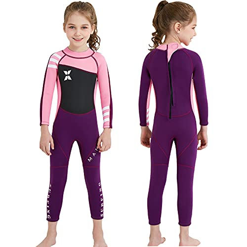 """NATYFLY Kids Wetsuit, 2.5mm Neoprene Thermal Swimsuit, Full Wetsuit for Girls Boys and Toddler, Long Sleeve Kids Wet Suits for Swimming (New Pink-Girls Wetsuit-2.5mm, New 2XL-for Height 52""""-57"""")"""
