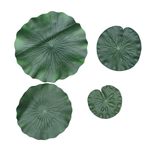 Garneck 8 Stück Künstliche Seerosenblatt Lebensechte Grüne Lotuslilie Blätter Foto Prop Simulation Schwimmende Teichblätter für Pool Garten Dekor