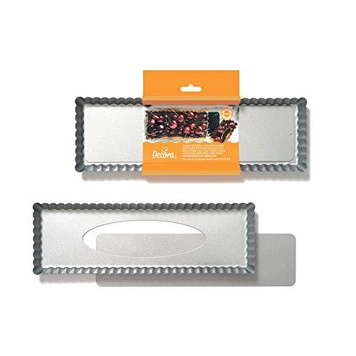 Decora 70026 0070026 Stampo Crostata Antiaderente Rettangolare con Fondo Mobile 35x11x2,5 cm, Acciaio, Grigio