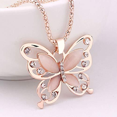 Ba30DEllylelly Mode Femmes Lady Pendentif Collier Femmes Or Rose Opale Papillon Pendentif Collier Chandail Chaîne Bijoux Cadeau