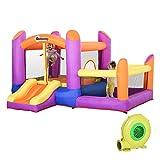 Outsunny Castello Gonfiabile Gioco per Bambini con Scivolo e Piscina per Giardino, Multicolor, 300x280x170cm