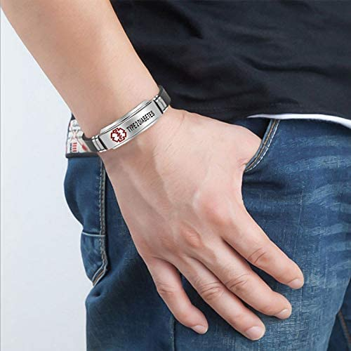 Adjustable Black Silicone Belt Buckle Bangle Bracelet Type 1//2 Diabetes Bracelet for Women Medical ID Bracelets for Men