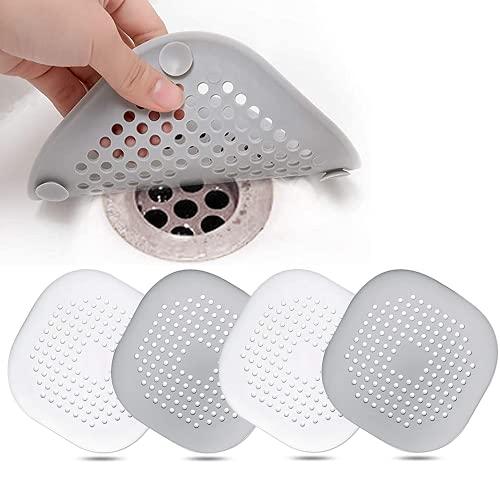 4 Piezas Silicona Protector de Drenaje, Tapa de Drenaje de con Ventosas Fuertes, Cubierta del DREN de Bañera Colador, Filtro para Fregadero para Cocina Baño