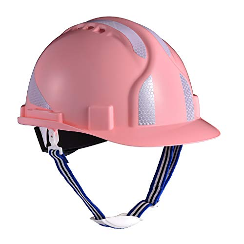 Casco de seguridad reflectante rosa Safeyear con correa para la barbilla para mujer. Casco de trabajo EN397 ligero, reflectante y ventilado para construcción, electricista, industria (normal, rosa)