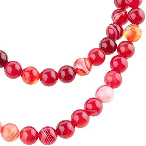 Perle Gioielli In Agata Naturale Rossa Perle di Agata Filo di Perline Rotonde Naturale Perle Agata Rotonda Affascinanti Bracciale Elastico per la Produzione di Gioielli DIY Accessorio(6mm)