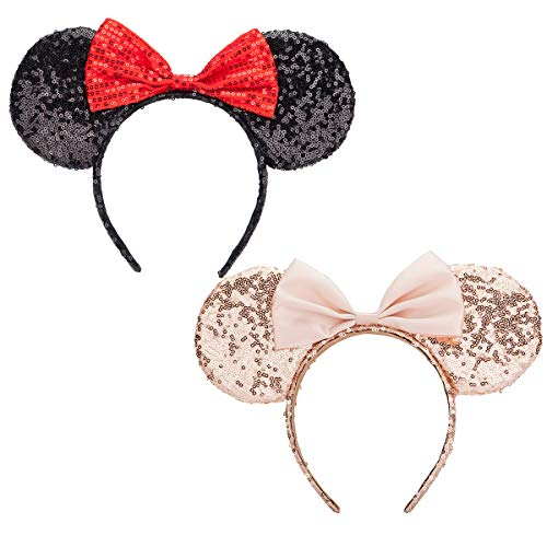 Mouse Ears headband,Calar pack of 2 Sequin Ears Headband Butterfly Glitter Hairband for Baby Show Headwear Halloween Theme Party Decorations (Red&Black)