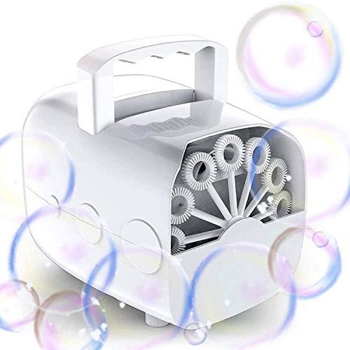 Máquinas de burbujas, JanTeelGO Fabricante de automática de burbujas portátil, soplador de burbujas con USB, 1500 burbujas por minuto para uso en exteriores/interiores (baterías no incluidas) (blanco)