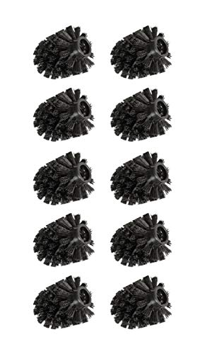 WENKO 10er Set Ersatzbürste für Toilettenbürste, Ersatzbürstenkopf, wechselbar, Ø 8cm, Schwarz