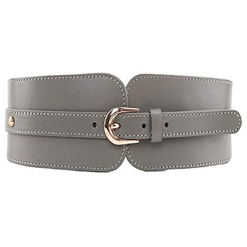 Corsé de cintura de mujer Cinturón de cuero de mujer abrigo de cinturón ancho para damas moda accesorios simples y versátiles con amplio Cinturón de vestir para damas ( Color : Gris , Size : 90cm )