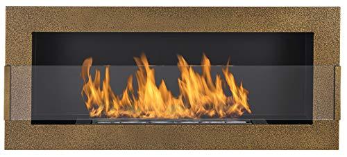 Biocamino 90x40cm con verto, bio caminetto in colore oro anticato. Camino a bioetanolo da appendere direttamente alla parete o da montare in un'apertura a parete