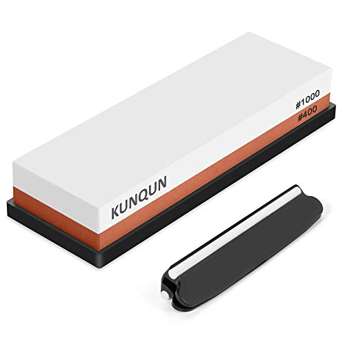KUNQUN Whetstone 400 1000 Grit, Premium Knife Sharpening Stone set 2-in-1 Dual Grits, Professional Japanese Water Stone Sharpener for Kitchen, Woodwork, outdoors etc - With Non-slip Base & Angle Guide