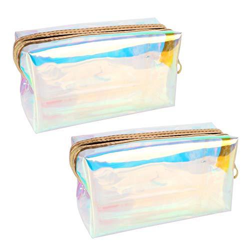 Jubaopen 2pcs Borsa Cosmetica Trasparente Borse da Toilette per Viaggio Impermeabile Sacchetto per Comestici Trousse Trasparente Pochette per Trucchi Portatrucchi Laser da Borsa per Donna