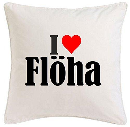 Kissenbezug I Love Flöha 40cmx40cm aus Mikrofaser geschmackvolle Dekoration für jedes Wohnzimmer oder Schlafzimmer in Weiß mit Reißverschluss