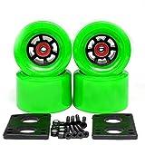 スケートボードホイール、スケートボード電動ホイール78A 97 * 52mmブラシストリートビッグホイールロングボードホイールABEC-9ベアリングブッシュ35mmボルト6mmガスケット(サイズ:97mmホイール)、サイズ:97mmグリーンホイール