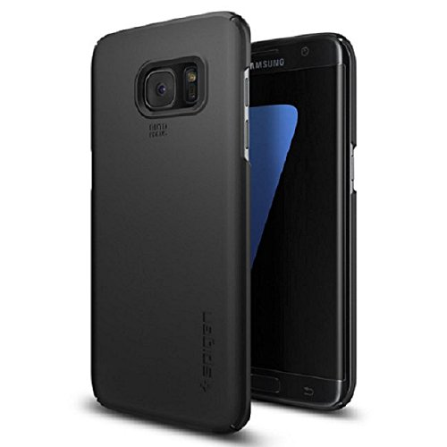 Spigen Thin Fit Kompatibel mit Samsung Galaxy S7 Edge Hülle, Hardcase dünn Schutzhülle schwarz Case Black (556CS20029)