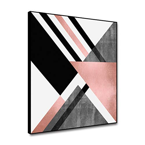 ARRMT Framed Canvas Wall Art Abstract Painting Geometric Pink Grey Decor White Triangle Color Blocks And Stripe For Home Decoration Living Room Bedroom Kitchen Art Prints Wall Poster Decor 16x16inch