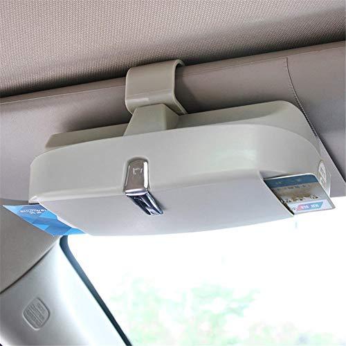 QKJZWJ Auto Bril Case, Zonnebril Case Multifunctionele Auto Bril Houder Auto Zonneklep Bril Clip Opbergdoos, Auto Accessoires (beige)