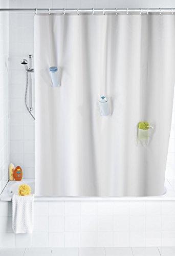 WENKO 21274100 Anti-Schimmel Duschvorhang Villa mit 3 Taschen - Anti-Bakteriell, waschbar, mit 12 Duschvorhangringen, 100 prozent Polyester, Weiß