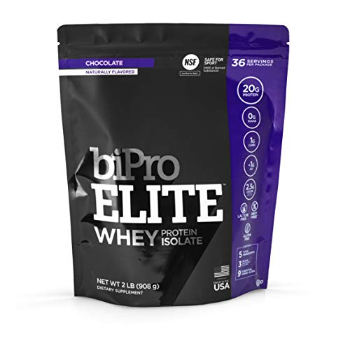 BiPro Elite 100% Whey Isolate Protein Powder, Chocolate, 2 Pounds - NSF Certified for Sport, Sugar Free, Suitable for Lactose Intolerance, Gluten Free, Contains Natural Sweeteners