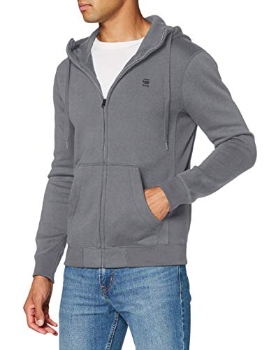 G-STAR RAW Mens Premium Core Hooded Zip Cardigan Sweater, lt Building C235-8166, XL