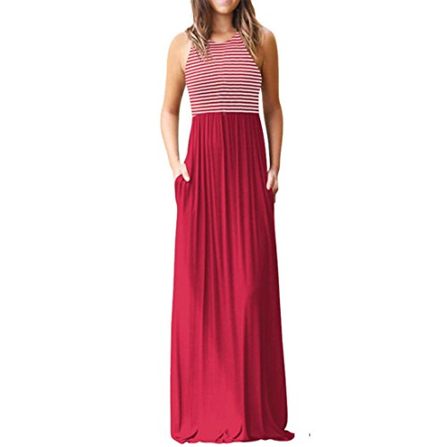 Auwer Clearance! Summer Womens Sleeveless Tunic Causal Long Striped Maxi Beach Dresses with Pockets