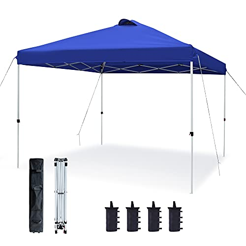 ASTEROUTDOOR 10'x10' Pop Up Canopy with Adjustable Leg Heights Wheeled Carry Bag, Sandbags, Stakes and Ropes, Royal Blue