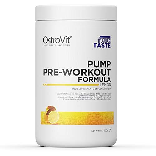Ostrovit Pump Paquete de 1 x 500g Pre Workout Con Arginina Citrulina Beta Alanina Taurina Carnitina Tirosina Cafeína (Lemon)