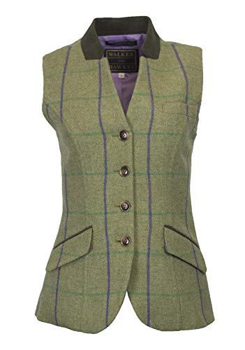 Walker & Hawkes - Margate Steppweste aus Tweed für Damen - Verstellbarer Riemen auf der Rückseite - Violett gestreift - Größe 42