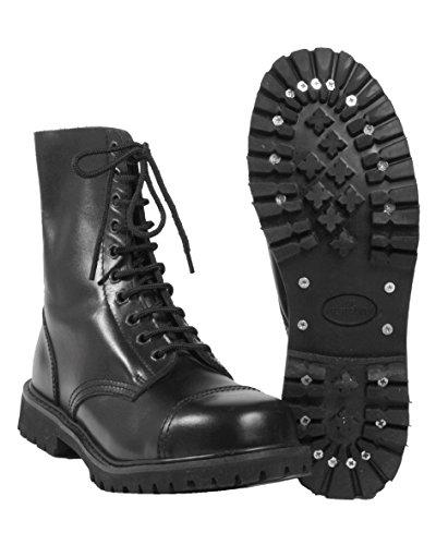 Mil-Tec - Invader 10 Loch Stiefel Boots Schwarz Stahlkappe Leder Schuhe Ranger Größe 38 (UK4)