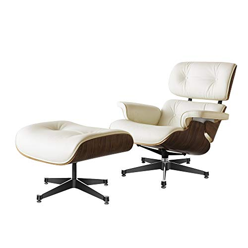 WALTSOM Lehnstuhl aus Leder mit Ottoman, Mid Century Lounge-Sessel mit echtem Leder und robuster Aluminium-Basis, moderne Chaise für Schlafzimmer, Wohnzimmer, Lounge, Büro (Walnuss + Creme)