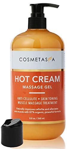 Hot Cream Massage Gel: Anti- Cellulite, Skin Tightening, Toning & Muscle and Joint Pain Relief Jelly 100% Natural, 87% Organic, Cruelty Free by Cosmetasa… (8.8 oz, 1- Pack)
