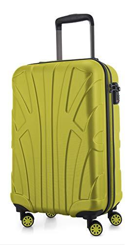 SUITLINE - Valigia per cabina, bagaglio a mano rigido, 4 doppie ruote, TSA, 100% ABS opaco, 55 cm, 34 litri, Acqua verde