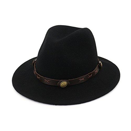 Azly-Caps Chapeaux Fedora Hat Trilby, Casquette de Cow-Boy Panama Sun Jazz en Coton mélangé avec Ceinture pour Hommes,Noir