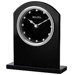 Bulova B5010 Ebony Crystal Desk Clock, Black
