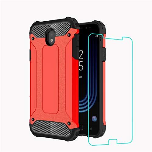 DESCHE Funda para Samsung J7 2017/J730, Hard PC Soft TPU 2 en 1 360 Protectora para Funda Resistente a los arañazos a Prueba de Golpes + Vidrio Templado -Rojo