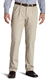 Lee Uniforms Men's Big & Tall Big-Tall Stain Resistant Relaxed Fit Pleated Pant - Beige - 46W x 32L