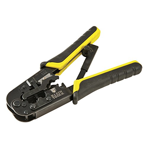 Klein Tools - 52767 VDV226-011-SEN Crimper, All-in-One Ratcheting Modular Data Cable Crimper / Wire Stripper / Wire Cutter, for RJ45, CAT5e, CAT6, CAT6A Yellow/Black