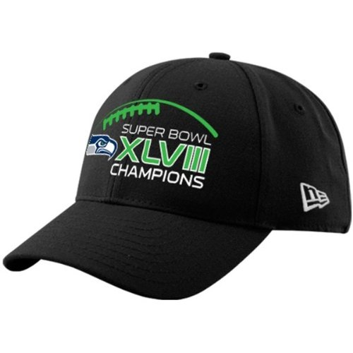 190697f1276 Amazon.com   Seattle Seahawks Super Bowl XLVIII Champions 39THIRTY Black  Stretch Hat   Sports   Outdoors