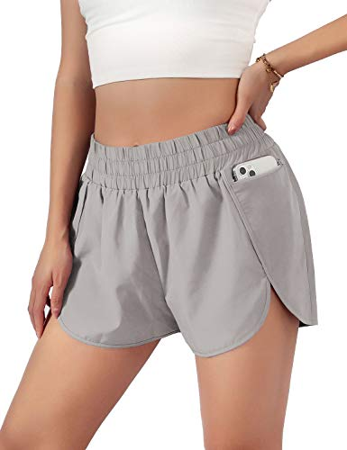 Blooming Jelly Womens Quick-Dry Running Shorts Sport Layer Elastic Waist Active Workout Shorts with Pockets 1.75' (Medium, Grey)