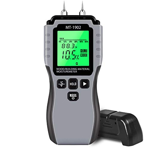 Wood Moisture Meter, CWOVRS Digital Moisture Meter Tester, Pin-Type Water Leak Detector, Backlit LCD, High-Accuracy Dampness Meter for Firewood Building Materials Wall Carpet Plaster Sub-flooring