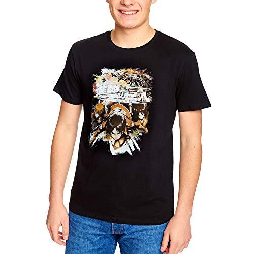 Attack on Titan Ataque EN Titán Para Hombre de La Camiseta de Algodón Negro Caracteres - L