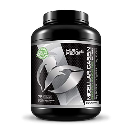 MUSCLE FEAST Grass Fed Micellar Casein All Natural Hormone Free Slow Digesting 100% Pure 20g Protein 88 Calories Unflavored 4lb