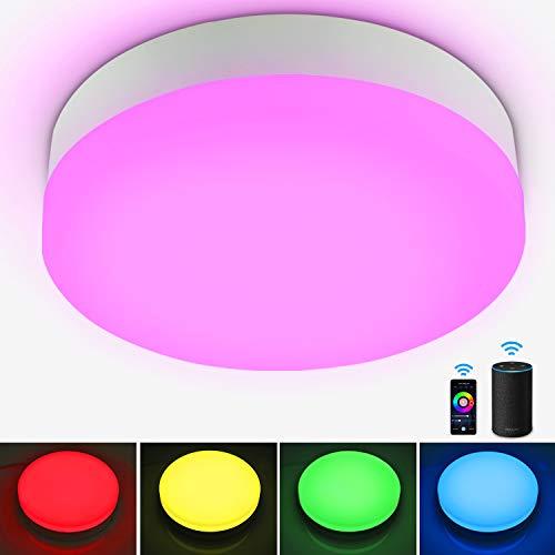Alexa Smart LED Deckenleuchte 12W, Oraymin 1200lm WIFI LED Deckenlampe RGB Farbwechsel, IP54 Wasserdichte Badlampe Schlafzimmer Kinderzimmer Kompatibel mit Alexa Google Home, APP-Steuerung Φ22.5CM