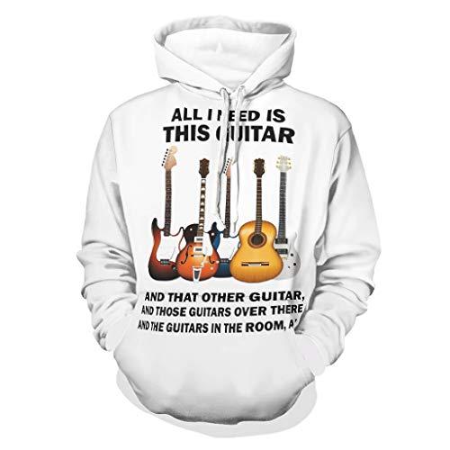 Sudadera con capucha para hombre con diseo de guitarra y otras msicas de guitarra, manga larga, con bolsillos blanco M