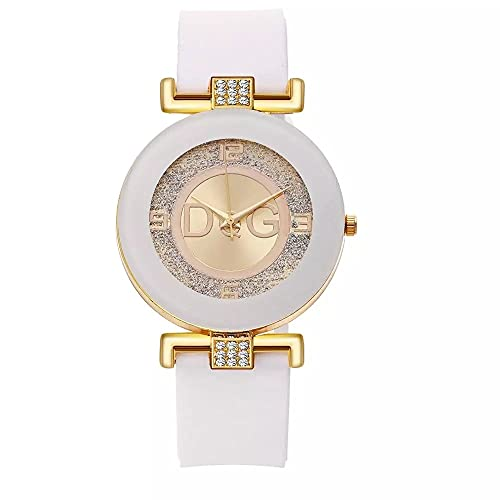 Relojes para Mujer 2021 Nueva Marca Moda de Lujo Cuarzies de Cuarzo Silicone Matte Wristwatch(Blanco)